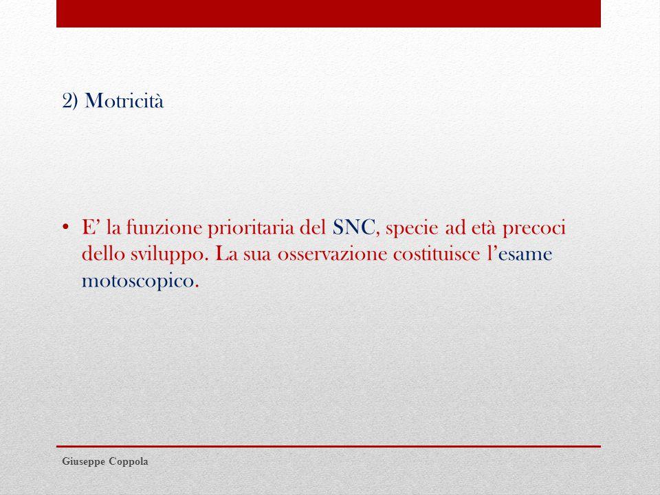 2) Motricità E' la funzione prioritaria del SNC, specie ad età precoci dello sviluppo. La sua osservazione costituisce l'esame motoscopico.