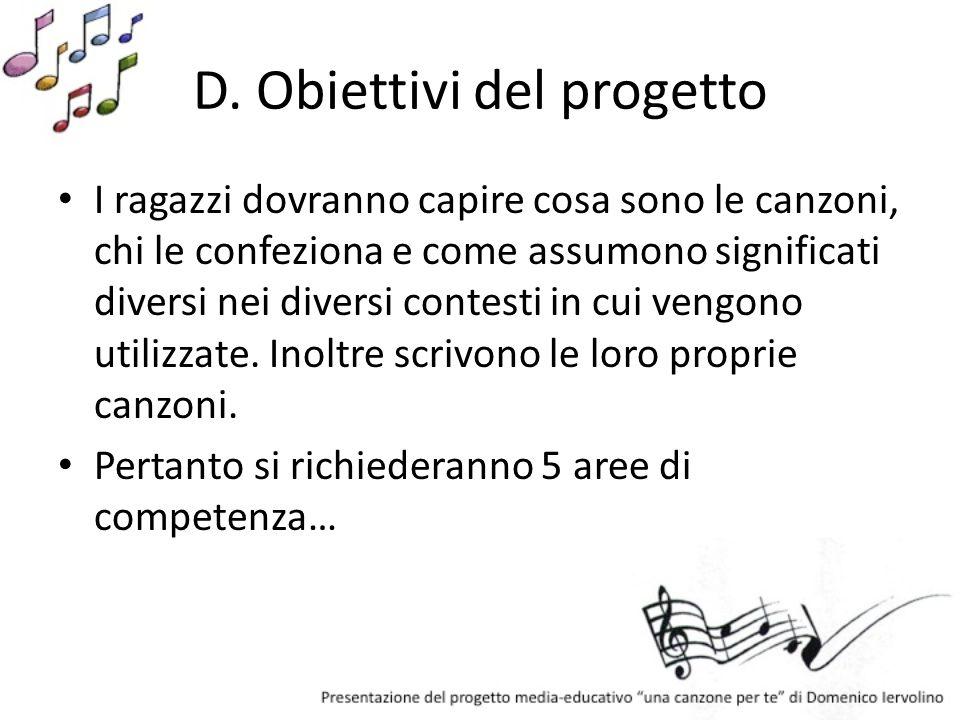 D. Obiettivi del progetto