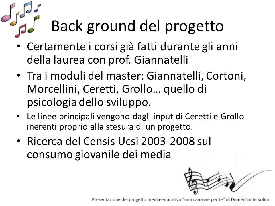 Back ground del progetto