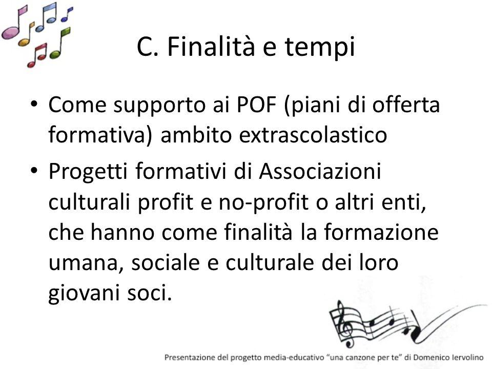 C. Finalità e tempi Come supporto ai POF (piani di offerta formativa) ambito extrascolastico.