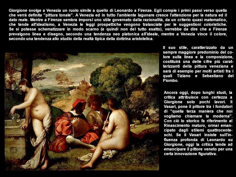 Giorgione svolge a Venezia un ruolo simile a quello di Leonardo a Firenze. Egli compie i primi passi verso quella che verrà definita pittura tonale . A Venezia ed in tutto l ambiente lagunare cresce l attenzione per la natura ed il dato reale. Mentre a Firenze sembra imporsi uno stile governato dalla razionalità, da un criterio quasi matematico, che tende all idealismo, a Venezia le leggi prospettiche vengono tralasciate per le suggestioni coloristiche. Se si potesse schematizzare in modo scarno (e quindi non del tutto esatto), verrebbe da dire che a Firenze prevalgono linea e disegno, secondo una tendenza neo platonica all ideale, mentre a Venezia vince il colore, secondo una tendenza allo studio della realtà tipica della dottrina aristotelica.