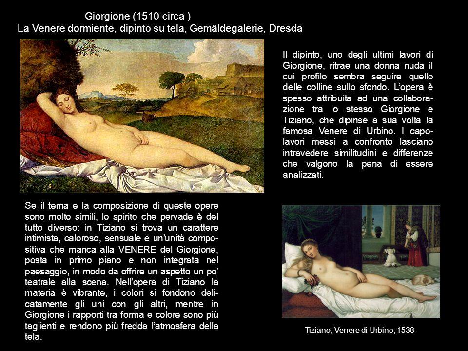 Giorgione (1510 circa ) La Venere dormiente, dipinto su tela, Gemäldegalerie, Dresda