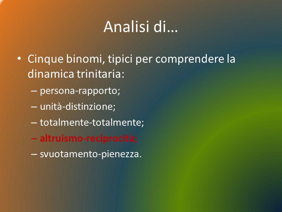 Analisi di…Cinque binomi, tipici per comprendere la dinamica trinitaria: persona-rapporto; unità-distinzione;