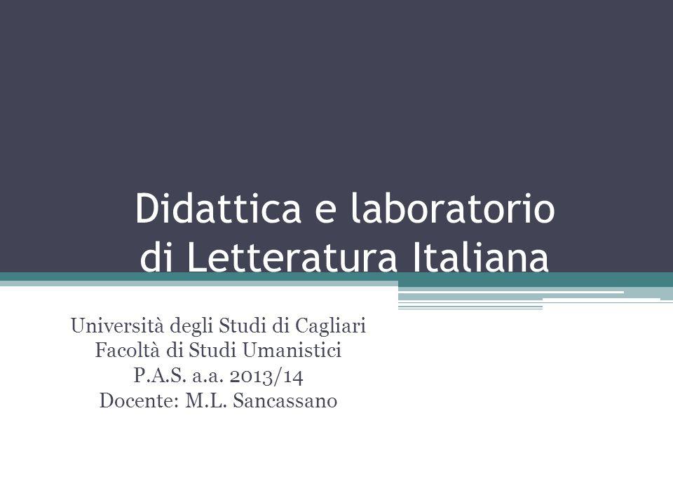 Didattica e laboratorio di Letteratura Italiana