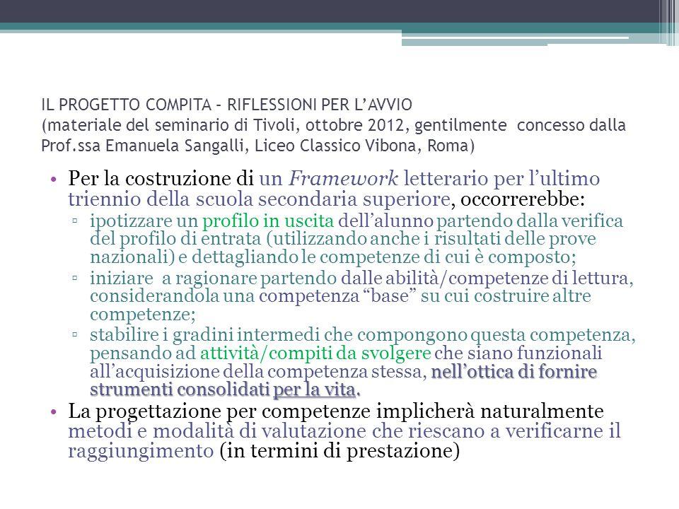 IL PROGETTO COMPITA – RIFLESSIONI PER L'AVVIO (materiale del seminario di Tivoli, ottobre 2012, gentilmente concesso dalla Prof.ssa Emanuela Sangalli, Liceo Classico Vibona, Roma)