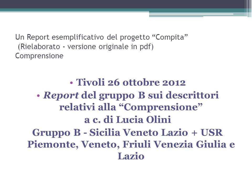 Report del gruppo B sui descrittori relativi alla Comprensione