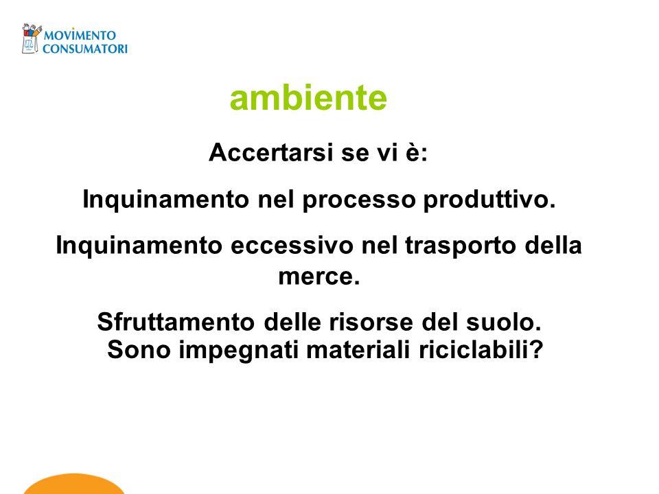 ambiente Accertarsi se vi è: Inquinamento nel processo produttivo.