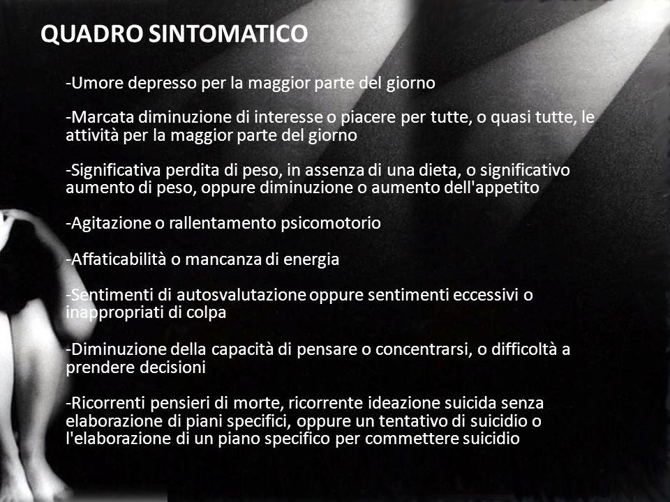 QUADRO SINTOMATICO -Umore depresso per la maggior parte del giorno