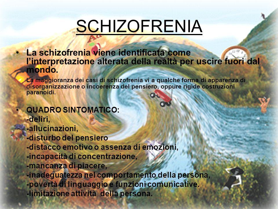 SCHIZOFRENIA La schizofrenia viene identificata come l'interpretazione alterata della realtà per uscire fuori dal mondo.
