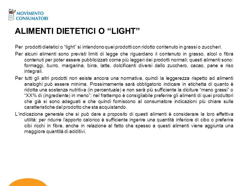 ALIMENTI DIETETICI O LIGHT