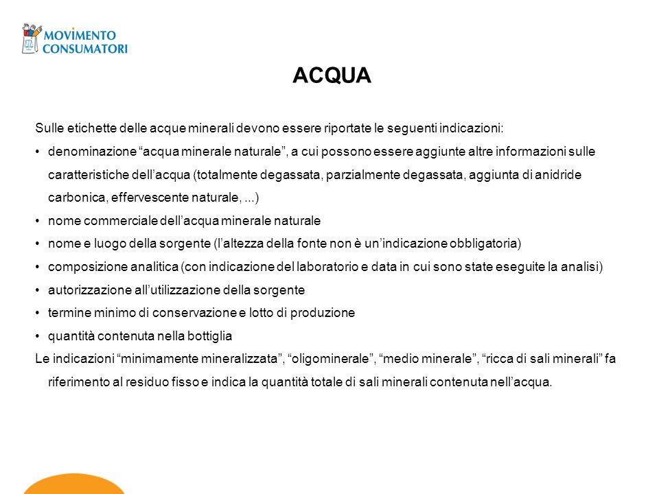 ACQUA Sulle etichette delle acque minerali devono essere riportate le seguenti indicazioni:
