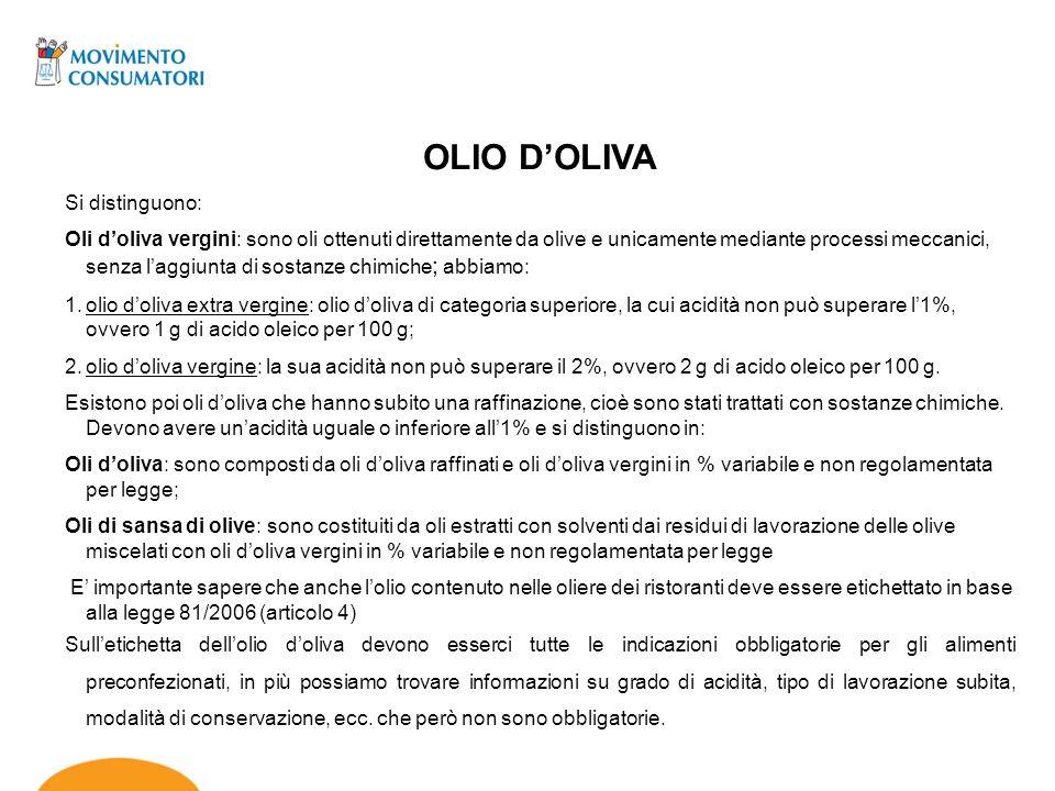 OLIO D'OLIVA Si distinguono: