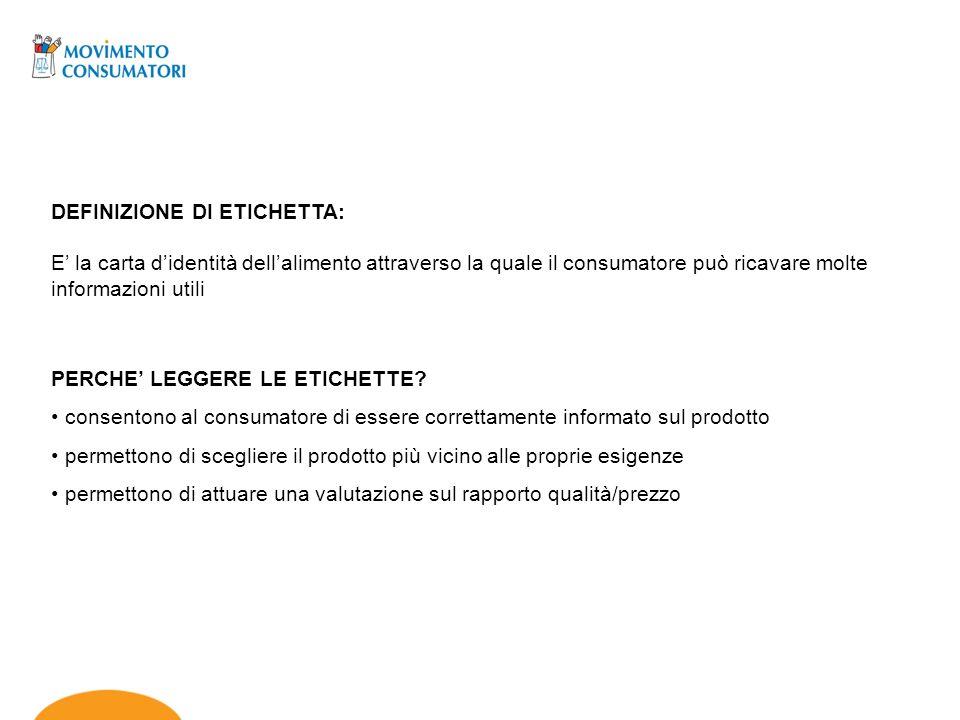 DEFINIZIONE DI ETICHETTA: