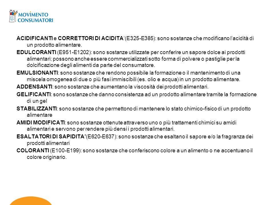 ACIDIFICANTI e CORRETTORI DI ACIDITA'(E325-E385): sono sostanze che modificano l'acidità di un prodotto alimentare.
