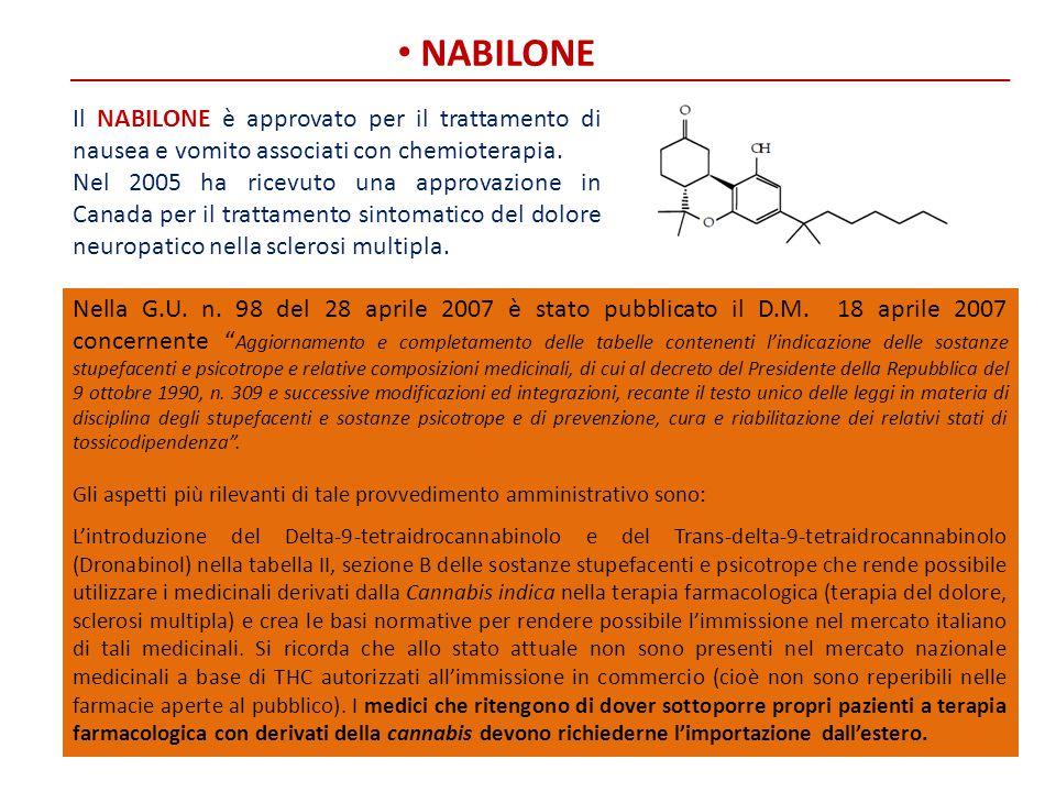NABILONE Il NABILONE è approvato per il trattamento di nausea e vomito associati con chemioterapia.