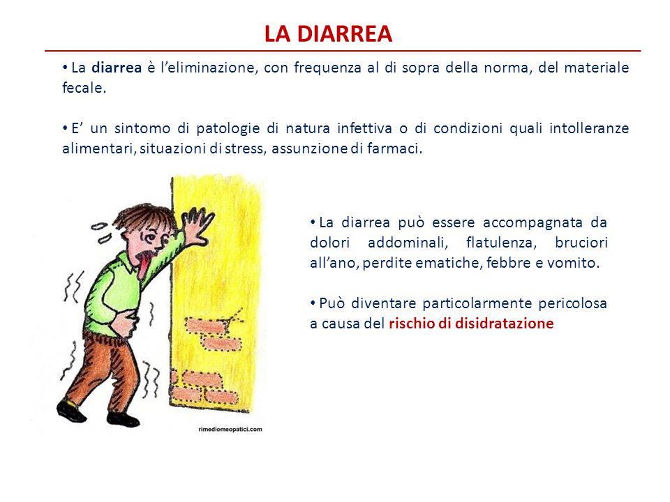 La diarrea La diarrea è l'eliminazione, con frequenza al di sopra della norma, del materiale fecale.