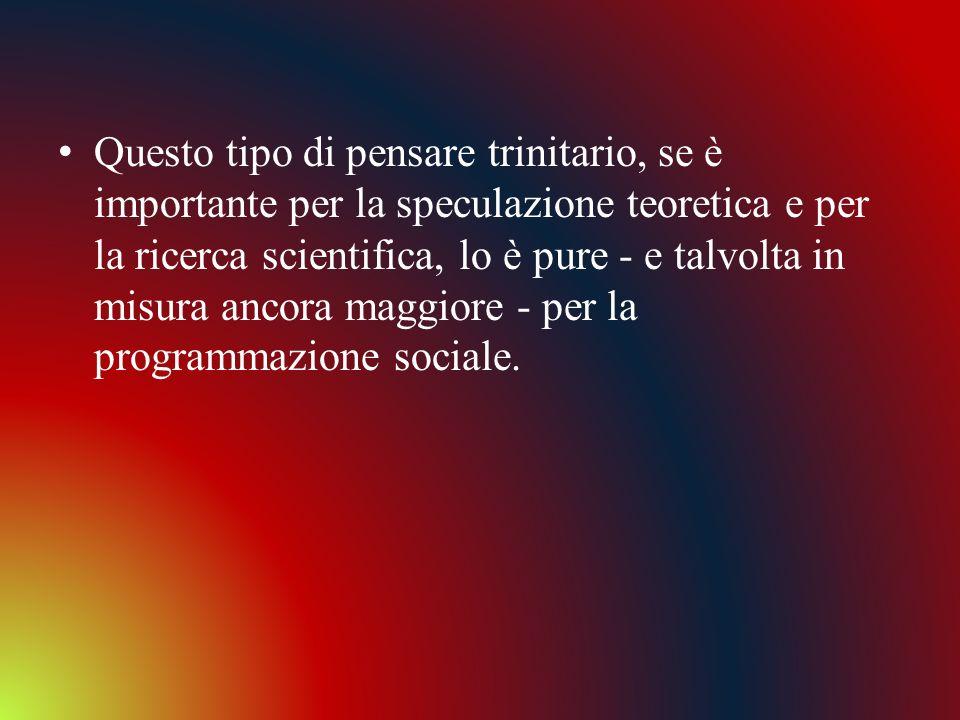 Questo tipo di pensare trinitario, se è importante per la speculazione teoretica e per la ricerca scientifica, lo è pure - e talvolta in misura ancora maggiore - per la programmazione sociale.