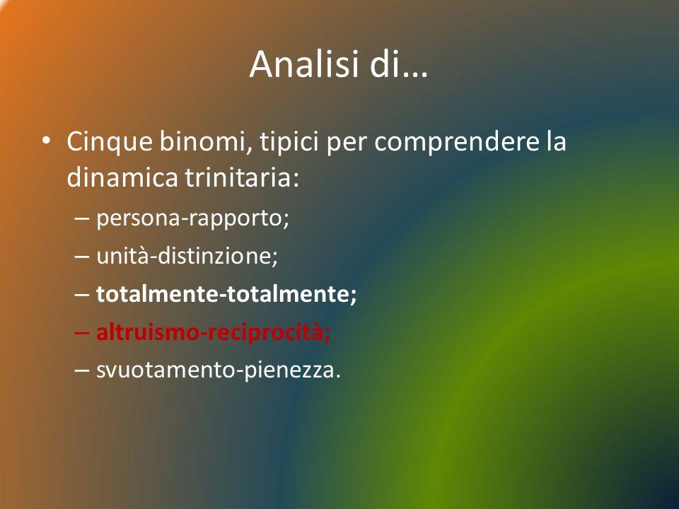Analisi di… Cinque binomi, tipici per comprendere la dinamica trinitaria: persona-rapporto; unità-distinzione;