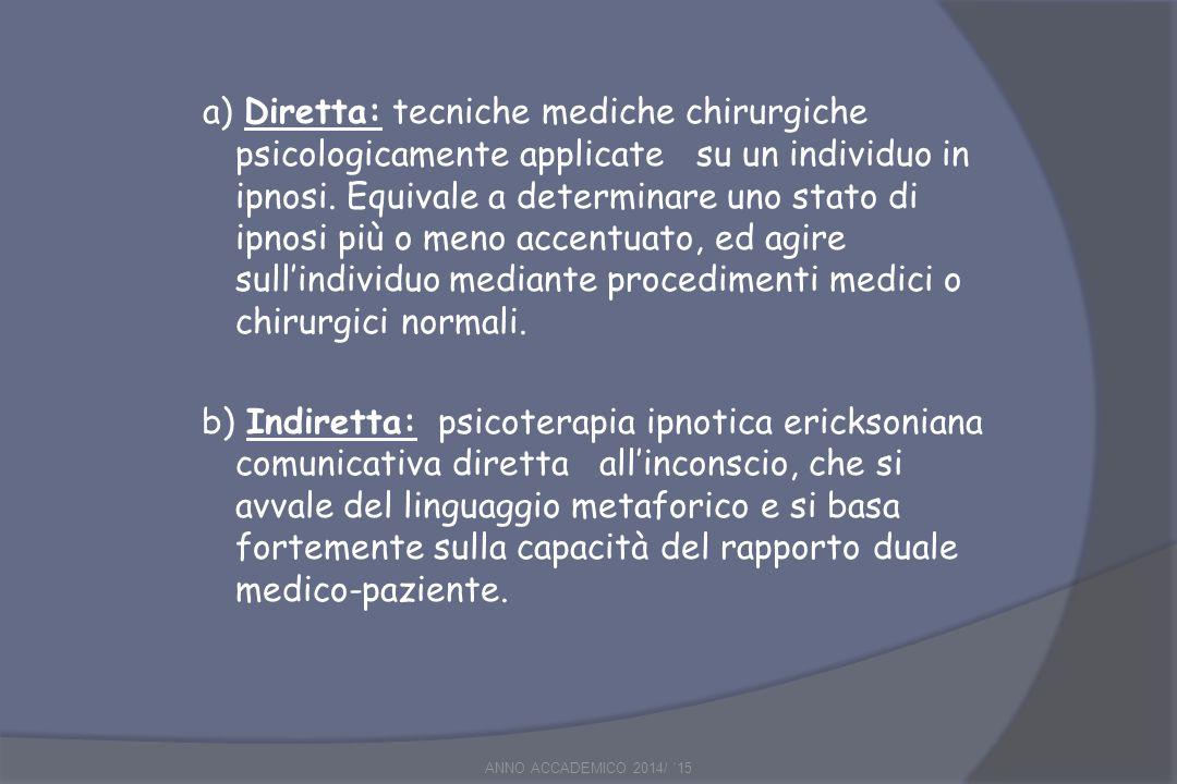 a) Diretta: tecniche mediche chirurgiche psicologicamente applicate su un individuo in ipnosi. Equivale a determinare uno stato di ipnosi più o meno accentuato, ed agire sull'individuo mediante procedimenti medici o chirurgici normali.