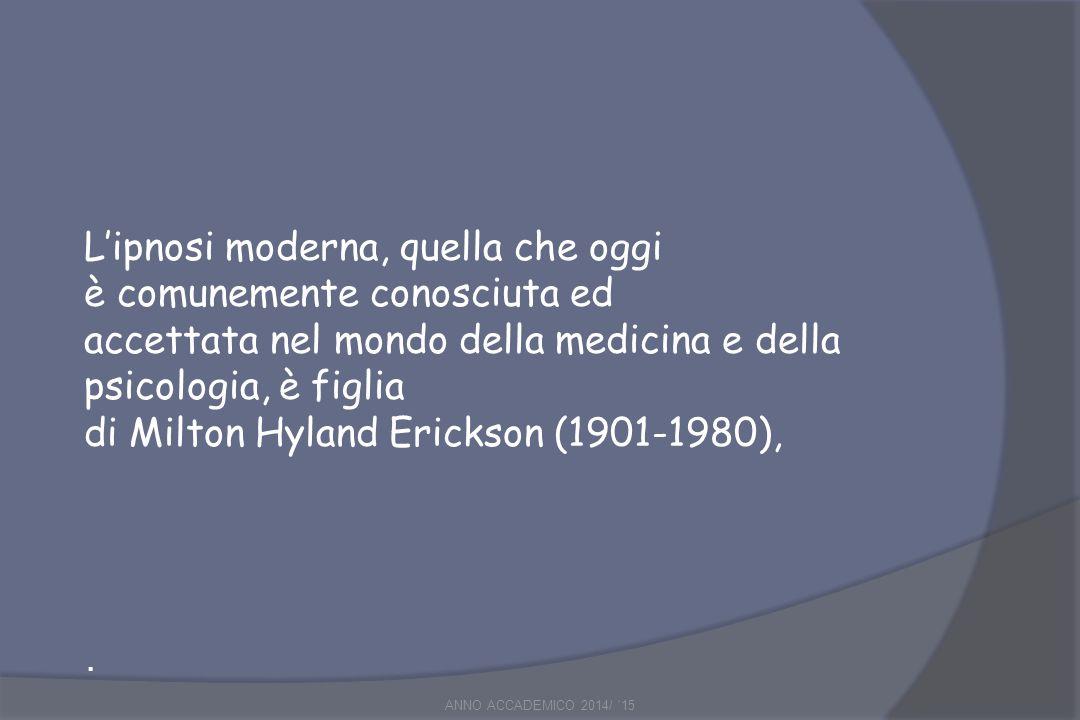 L'ipnosi moderna, quella che oggi è comunemente conosciuta ed accettata nel mondo della medicina e della psicologia, è figlia di Milton Hyland Erickson (1901-1980),