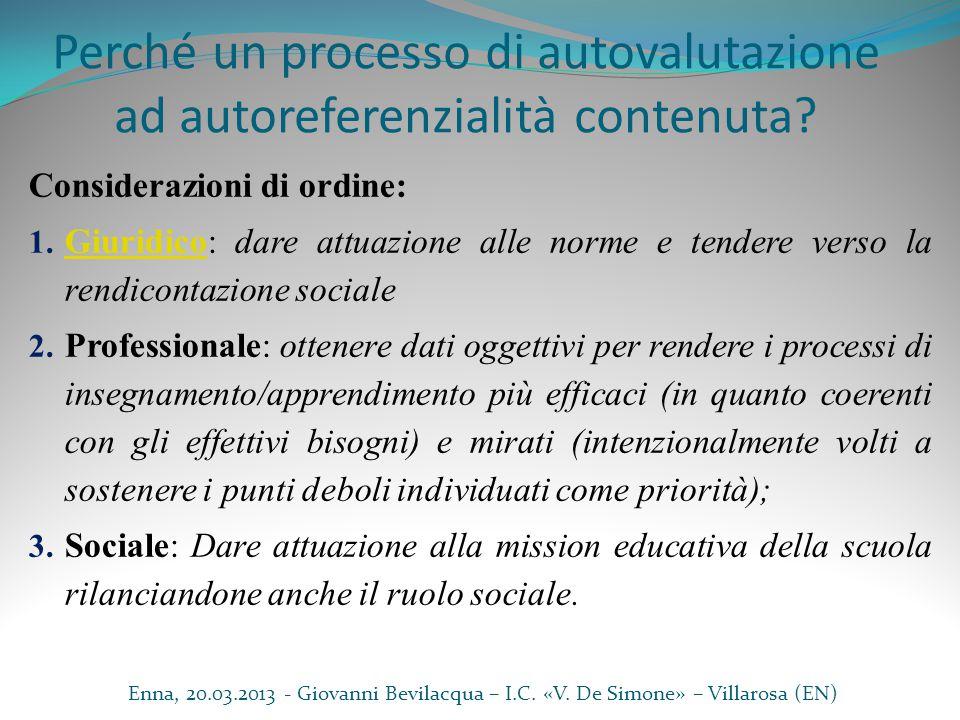 Perché un processo di autovalutazione ad autoreferenzialità contenuta
