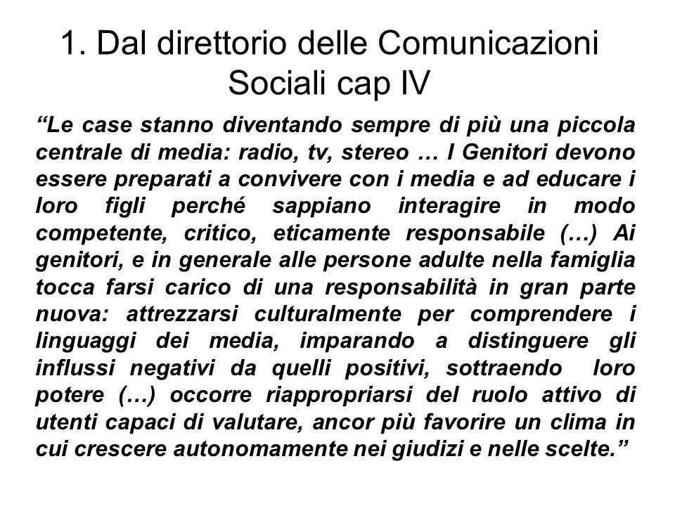1. Dal direttorio delle Comunicazioni Sociali cap IV