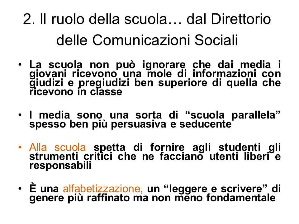 2. Il ruolo della scuola… dal Direttorio delle Comunicazioni Sociali