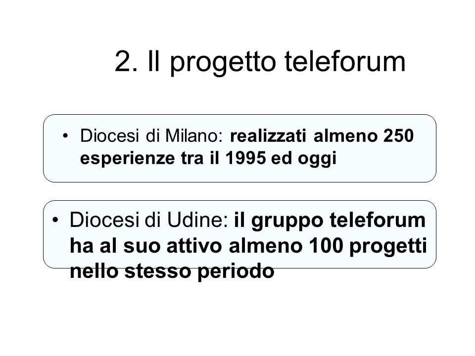 2. Il progetto teleforum Diocesi di Milano: realizzati almeno 250 esperienze tra il 1995 ed oggi.