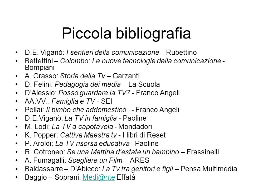 Piccola bibliografia D.E. Viganò: I sentieri della comunicazione – Rubettino.