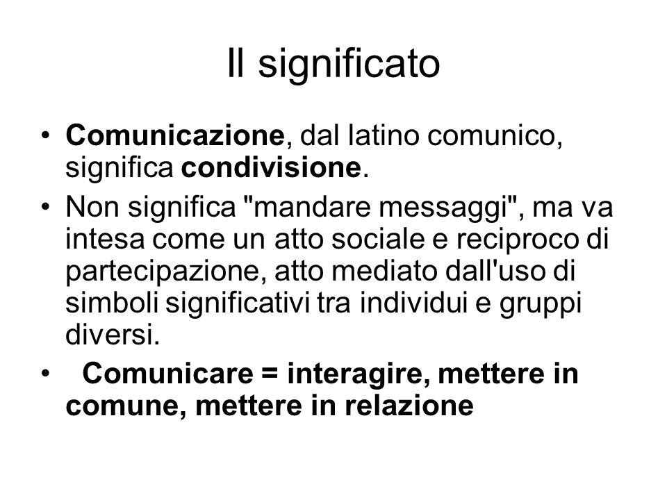 Il significato Comunicazione, dal latino comunico, significa condivisione.