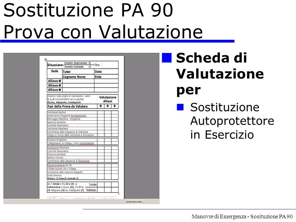 Sostituzione PA 90 Prova con Valutazione