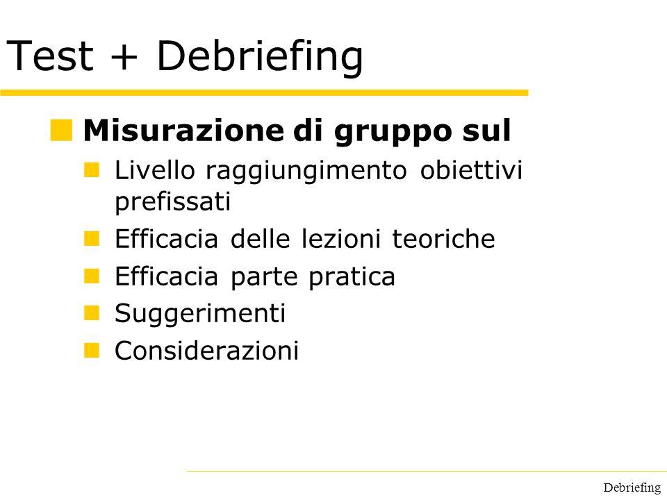 Test + Debriefing Misurazione di gruppo sul