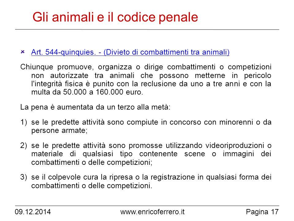 Gli animali e il codice penale