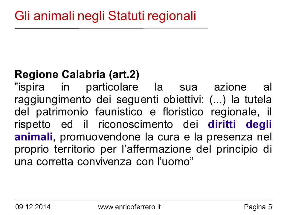 Gli animali negli Statuti regionali
