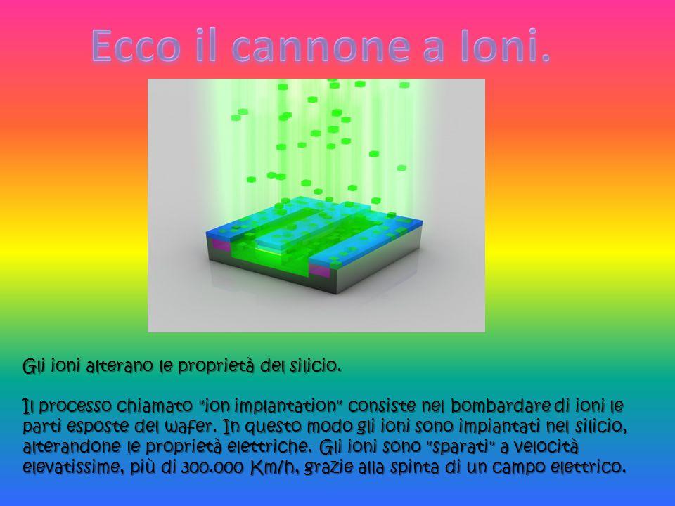 Ecco il cannone a Ioni. Gli ioni alterano le proprietà del silicio.