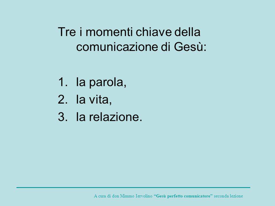 Tre i momenti chiave della comunicazione di Gesù: