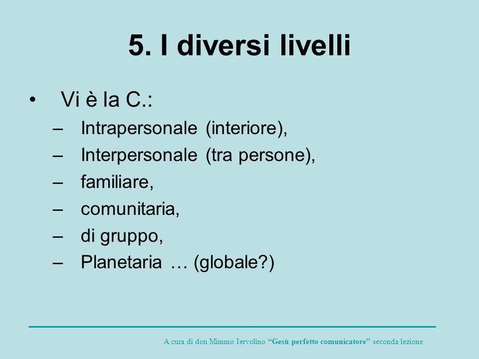 5. I diversi livelli Vi è la C.: Intrapersonale (interiore),