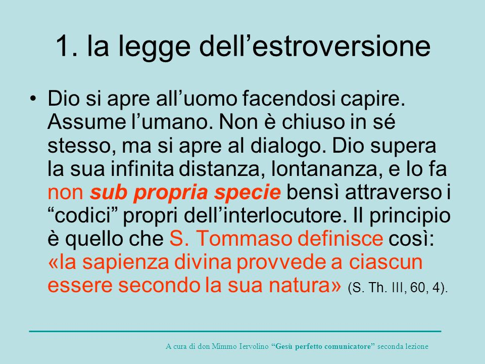 1. la legge dell'estroversione