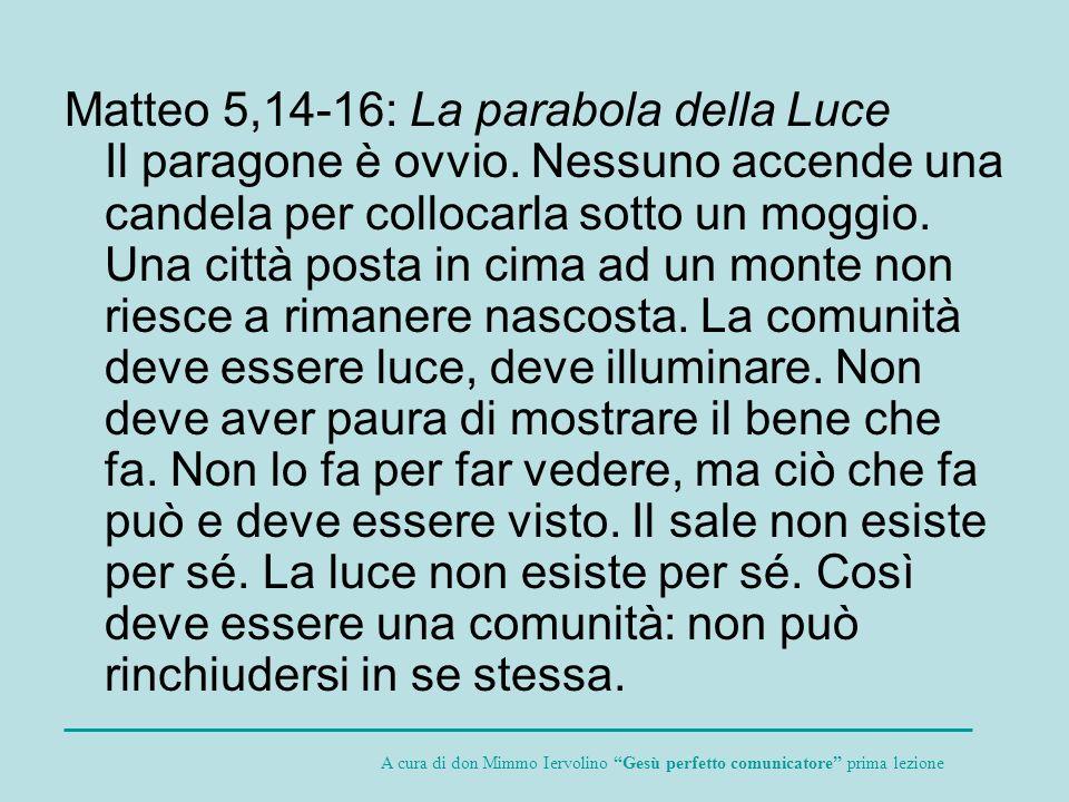 Matteo 5,14-16: La parabola della Luce Il paragone è ovvio