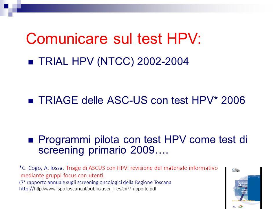 Comunicare sul test HPV: