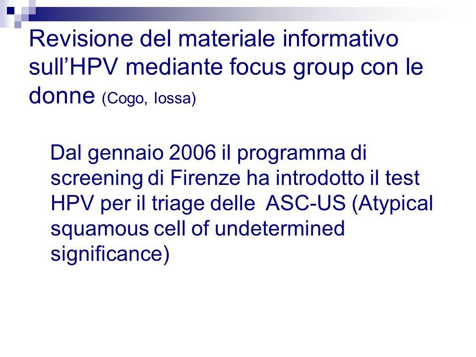 Revisione del materiale informativo sull'HPV mediante focus group con le donne (Cogo, Iossa)