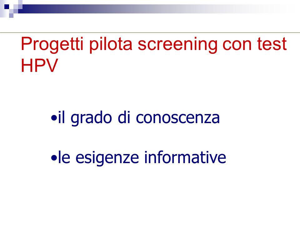 Progetti pilota screening con test HPV