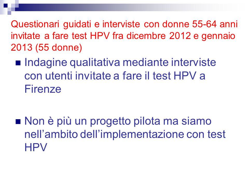 Questionari guidati e interviste con donne 55-64 anni invitate a fare test HPV fra dicembre 2012 e gennaio 2013 (55 donne)