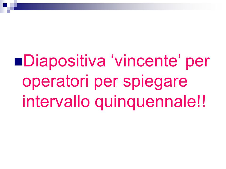 Diapositiva 'vincente' per operatori per spiegare intervallo quinquennale!!