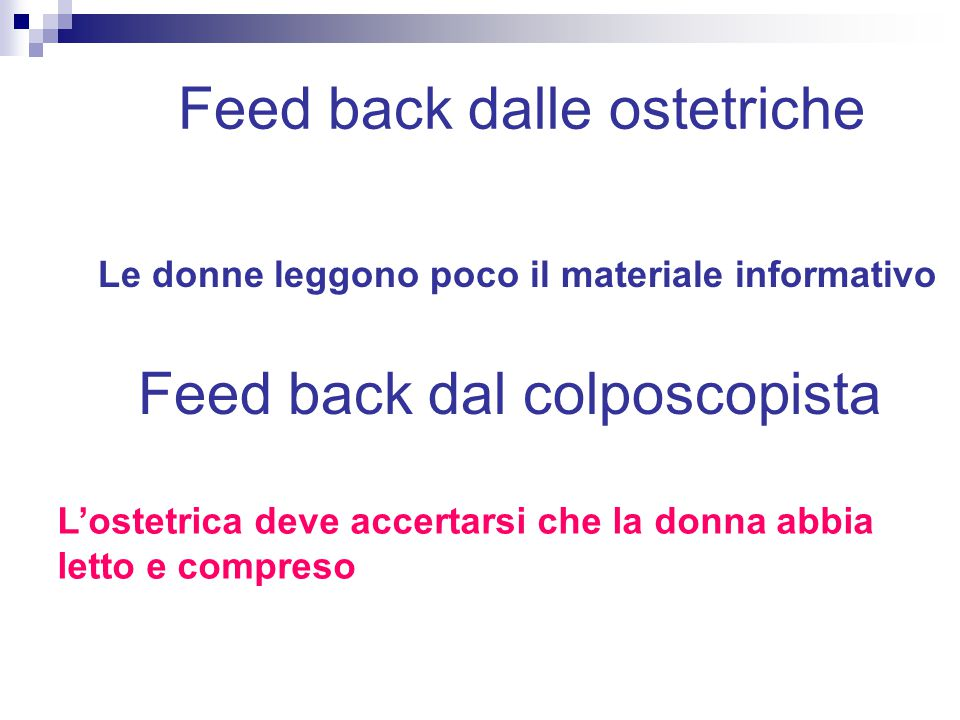 Feed back dalle ostetriche
