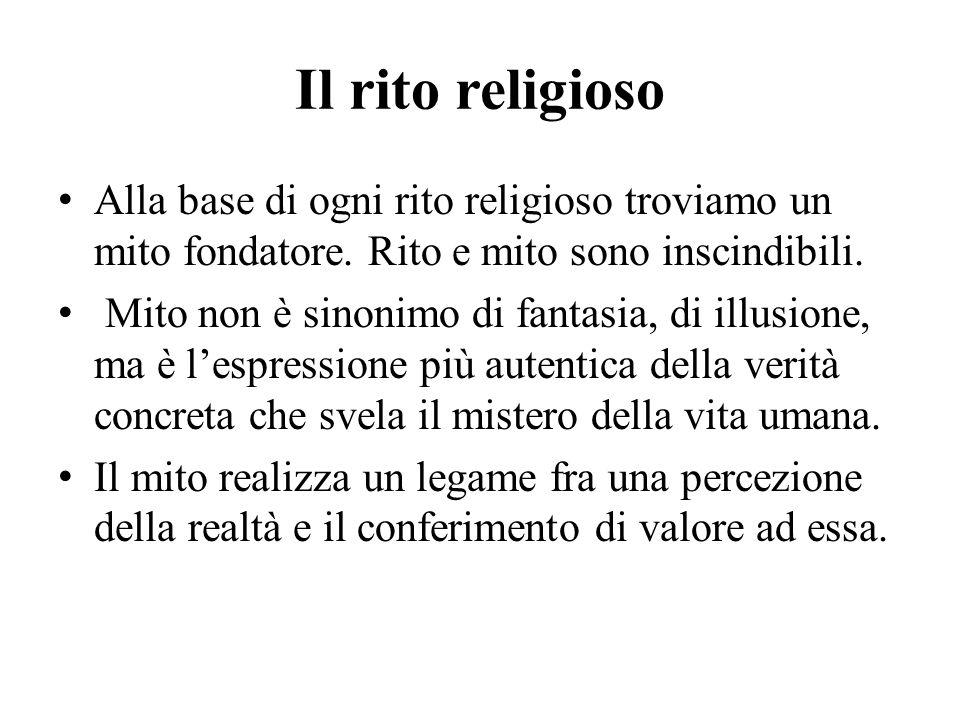 Il rito religioso Alla base di ogni rito religioso troviamo un mito fondatore. Rito e mito sono inscindibili.