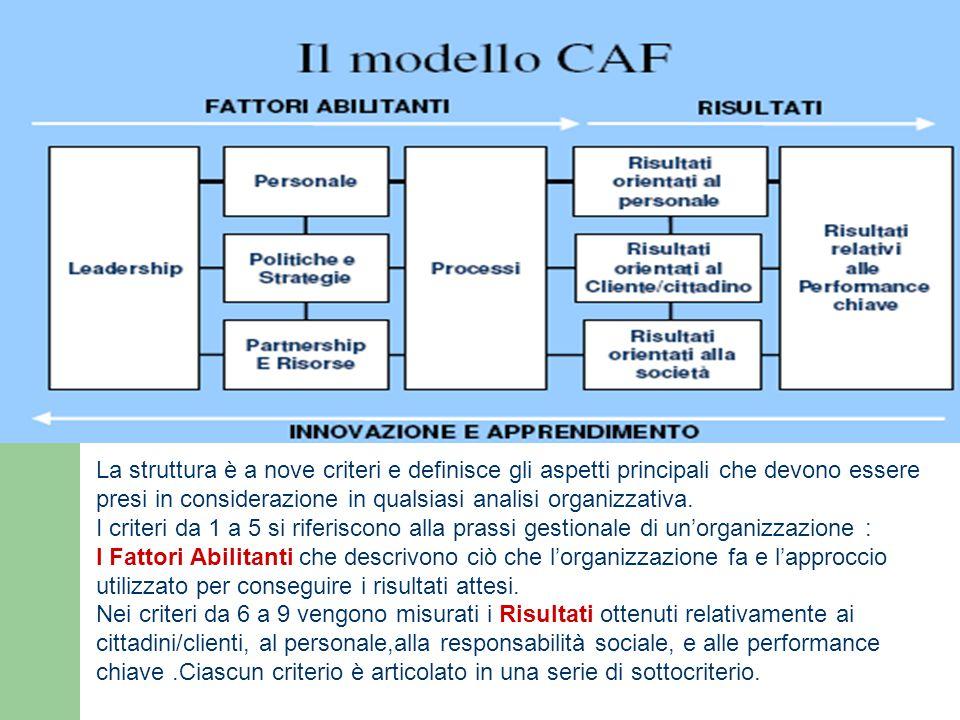 La struttura è a nove criteri e definisce gli aspetti principali che devono essere presi in considerazione in qualsiasi analisi organizzativa.