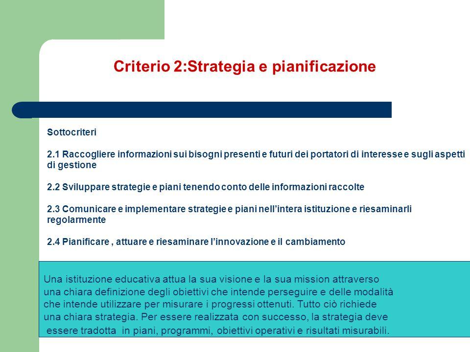 Criterio 2:Strategia e pianificazione