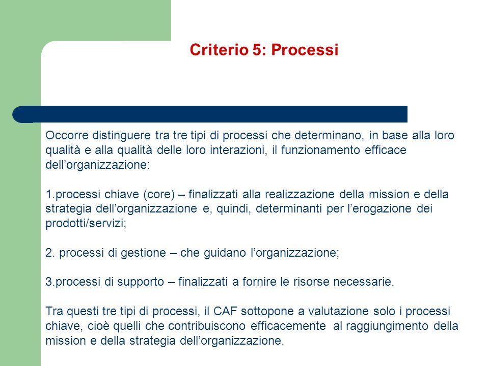 Criterio 5: Processi Occorre distinguere tra tre tipi di processi che determinano, in base alla loro.