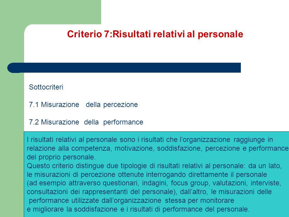 Criterio 7:Risultati relativi al personale